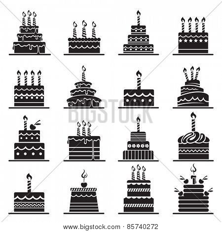 monochrome design of birthday cake set