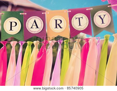 Colourful party swag banner