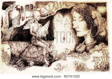 Fairy-tale Illustration, Crystal Creature Riding A Tortoise And A Locked Up Head, Detailed Monochrom