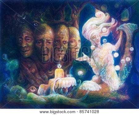 Spiritual Sacred Tree Of Four Faces, Beautiful Fantasy Colorful Painting