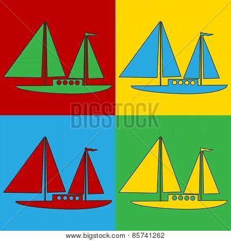 Pop Art Sailing Ship Symbol Icons.