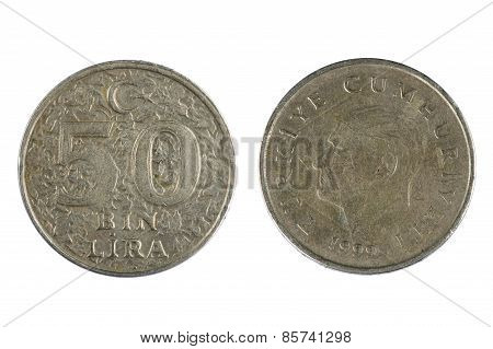 Coin Turkey Lira Isolated