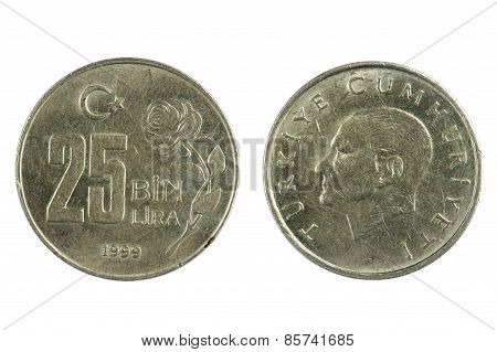 Turkey Coin Lira Isolated