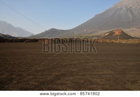 Ash Field And Volcano