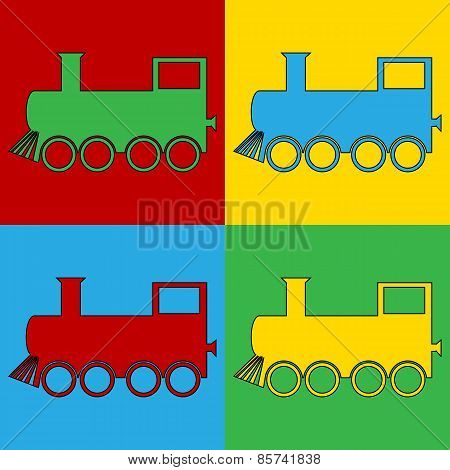 Pop Art Locomotive Symbol Icons.
