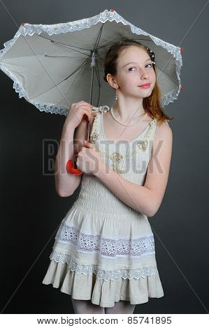 12-13 Years Girl Under An Umbrella