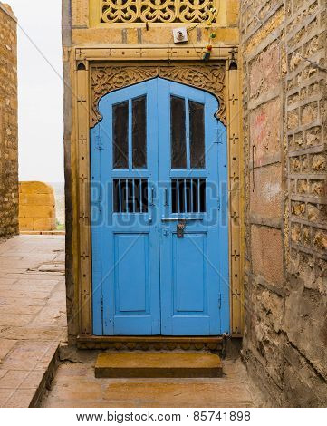 Blue wooden door in Jaisalmer, Rajasthan, India