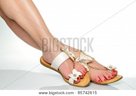 Beautiful female legs in summer sandals