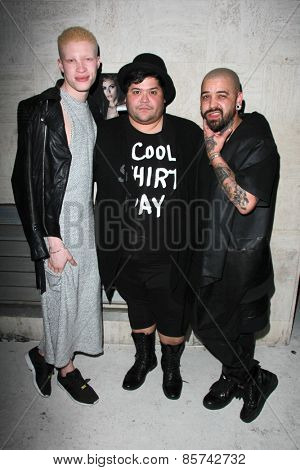LOS ANGELES - MAR 12:  Shaun Ross, Harvey Guillen, Ashton Michael at the Kode Magazine Spring 2015 Cover Party at the The Standard on March 12, 2015 in West Hollywood, CA
