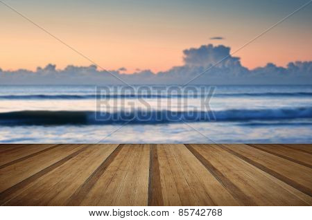 Beautiful Low Tide Beach Vibrant Sunrise With Wooden Planks Floor