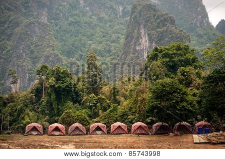 Row Of Tent In Cheow Larn Lake (ratchaprapa Dam),Thailand.