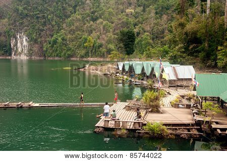 Morning At Floating House In Cheow Larn Lake (ratchaprapa Dam),Thailand.