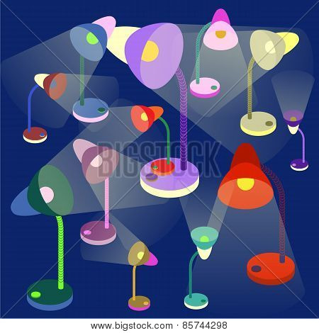 colorful table-lamps on dark-blue background