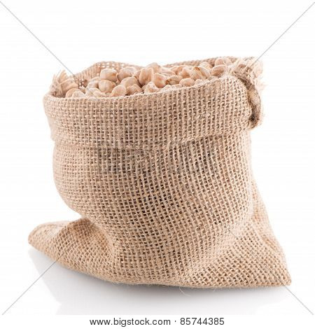 Uncooked Chickpeas On Burlap Bag