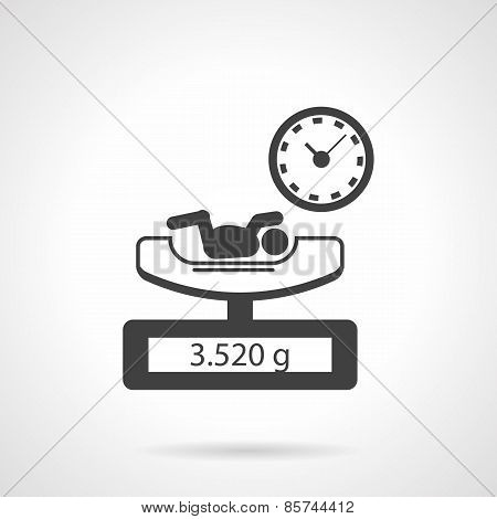 Black vector icon for newborn exam