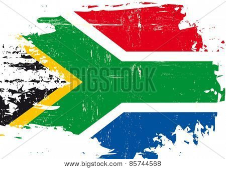 Scratched South African Flag. A flag of South Africa with a grunge texture
