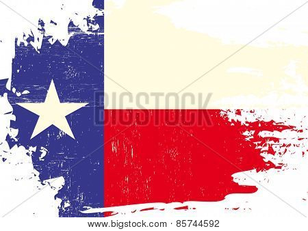 Scratched Texas Flag. A flag of Texas with a grunge texture