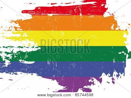 Scratched gay. A flag of Gay culture with a grunge texture