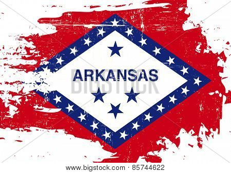 Scratched Arkansas Flag. A flag of Arkansas with a grunge texture