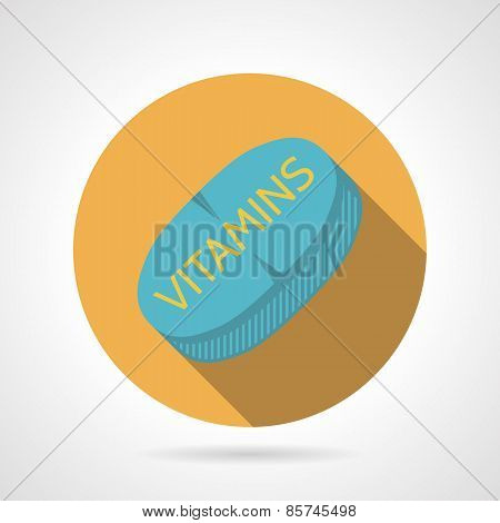 Flat color vector icon for sports vitamins