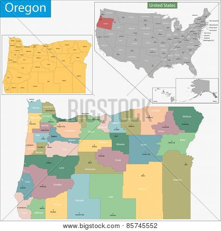 Map of Oregon state designed in illustration with the counties and the county seats