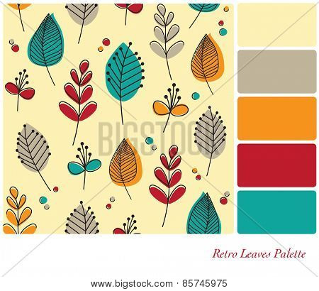 A flat design background of retro leaves and flowers, in a colour palette with complimentary colour swatches.