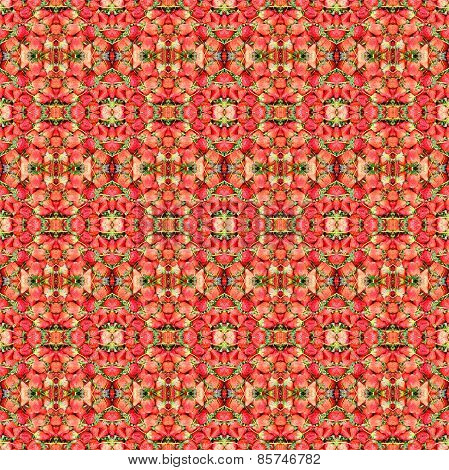 Abstract Red Strawberries Pattern Background.