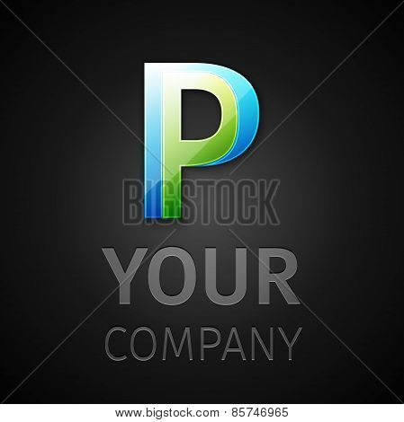 abstract vector logo letter P