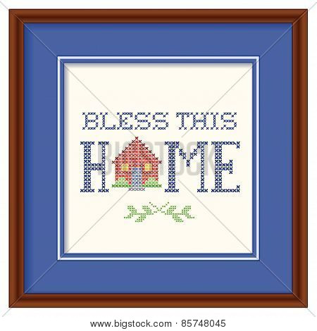 Bless This Home Embroidery, Wood Frame