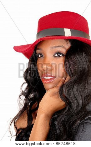 Closeup Of Black Girl With Red Hat.