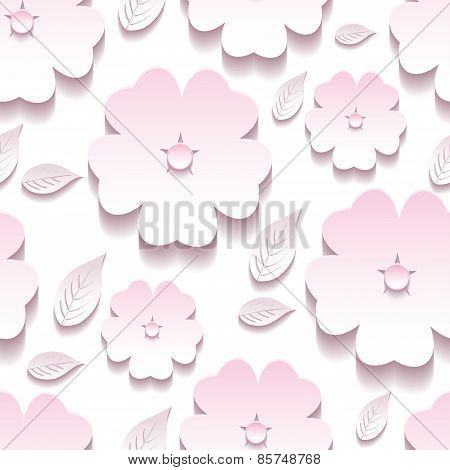 Stylish Floral Background Seamless Pattern, 3D Sakura Blossom