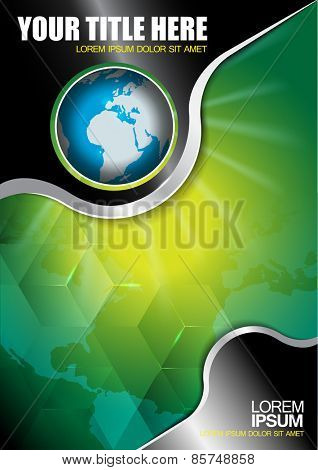 Abstract vector background with continents and globe for brochure