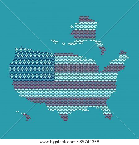 Dot And Flag Map Of America