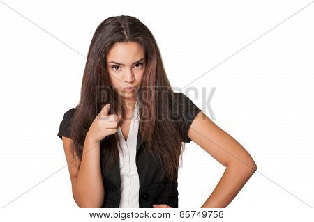 confrontational young woman pointing accusingly