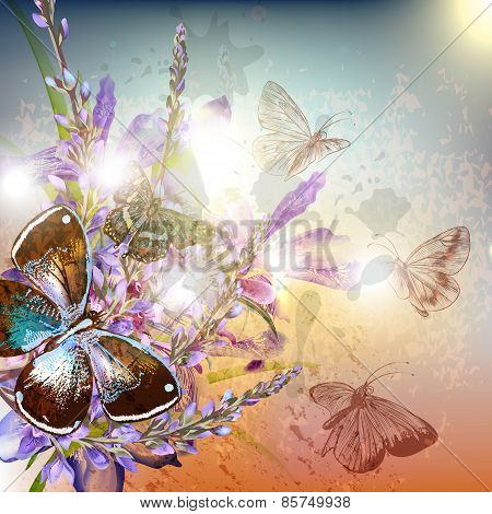 Artistic Floral Background With Flowers And Butterflies