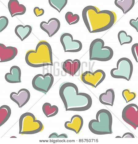 Seamless pattern with varicolored freehand hearts