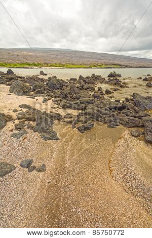 Sandy Beach And Rocks In The Galapagos