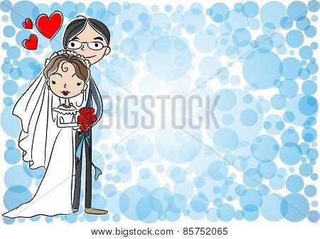 vector cartoon bride and groom