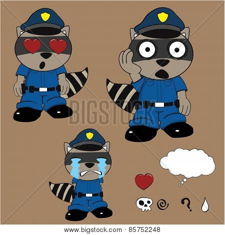 crying raccoon policeman cartoon set