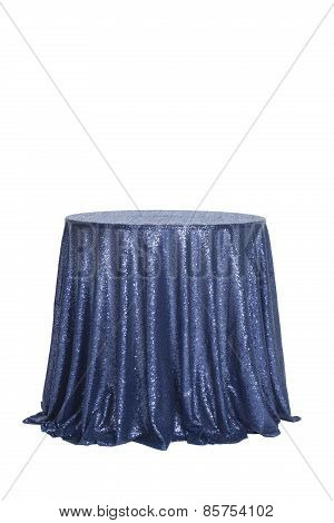 Bistro Table Covered with Blue Sequins Linen