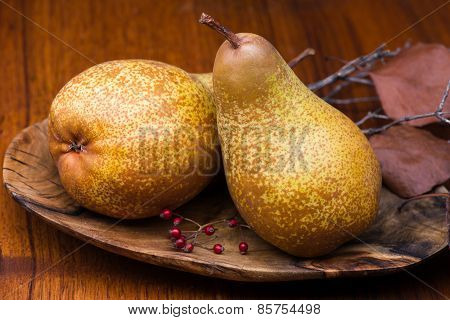 Pears On Wooden Plate