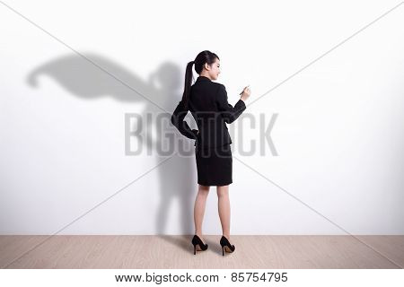 Superhero Business Woman Writing