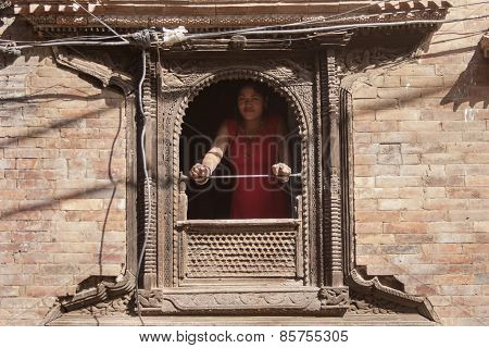 Girl Watch From A Window