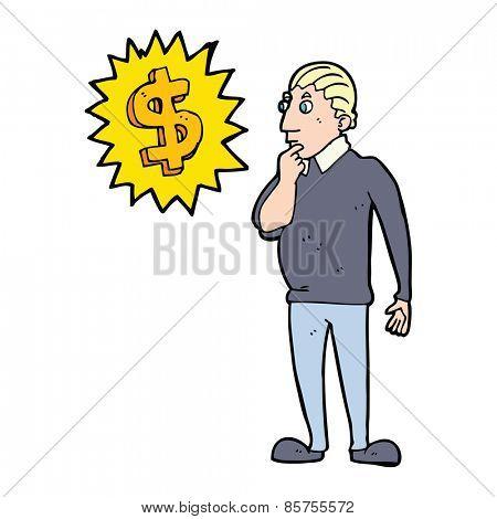 cartoon man thinking about making more money