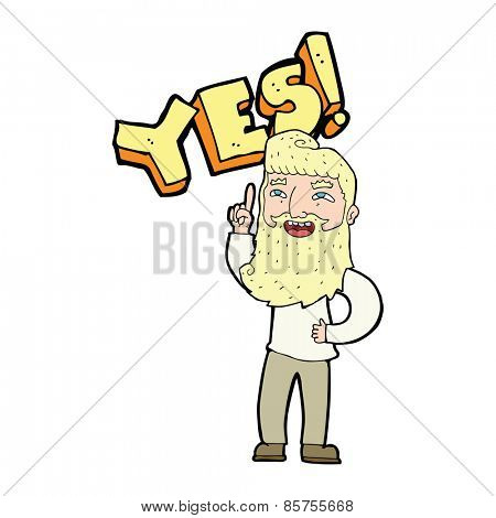 cartoon man shouting YES