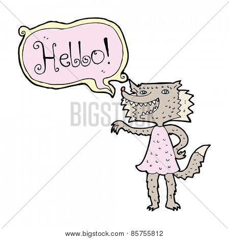 cartoon werewolf woman saying hello