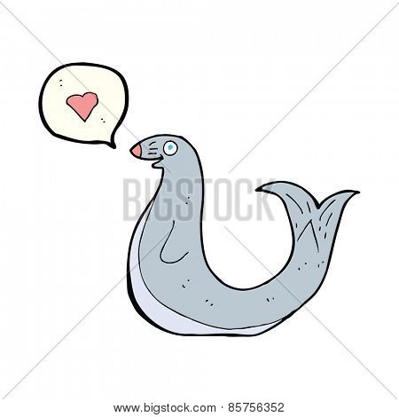 cartoon seal with love heart