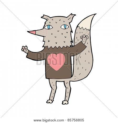cartoon wolf with love heart tee