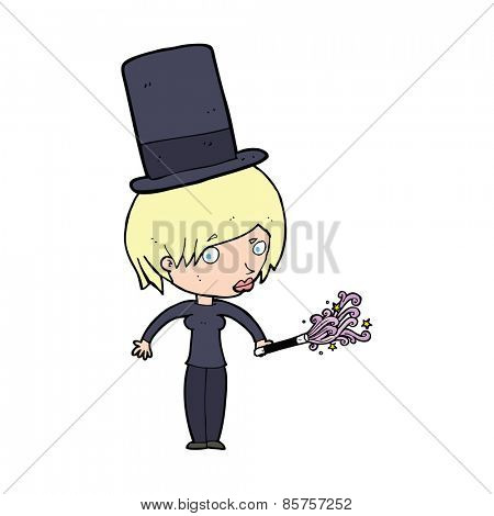 cartoon female magician