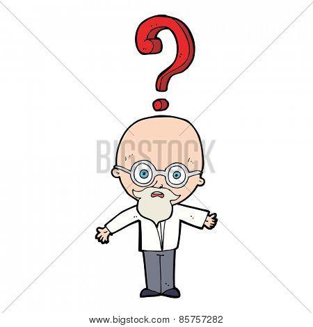 cartoon confused older man